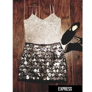 EXPRESS Sparkly Sequin Grey Tank Top